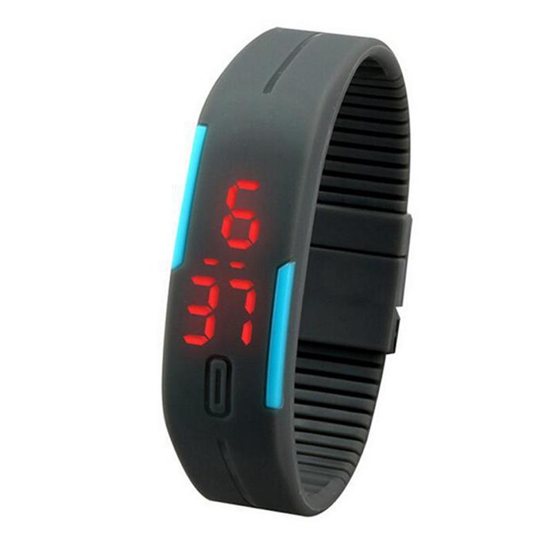 Sportovní digitální LED hodinky - šedé f51bbc46bf